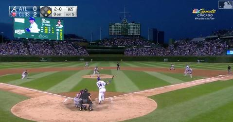 Jon Lester's switcheroo at the plate paid off, as a feigned sacrifice bunt turned into a single.