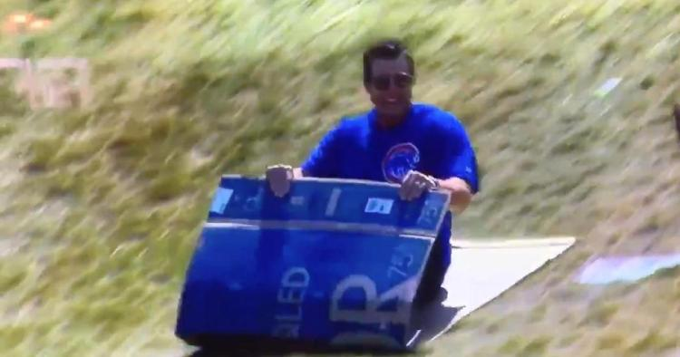 Anthony Rizzo was all smiles while sliding down the iconic hill at the site of the Little League World Series.