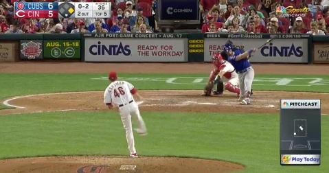 New Chicago Cubs catcher Jonathan Lucroy came through with a 2-out RBI double against the Cincinnati Reds.