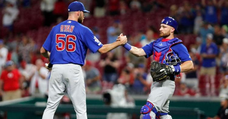 Veteran catcher Jonathan Lucroy (right) showed out in his Chicago Cubs debut. (Credit: David Kohl-USA TODAY Sports)