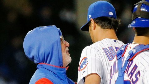 Overall, Joe Maddon was pleased with Yu Darvish's performance on Wednesday. (Credit: Jon Durr-USA TODAY Sports)