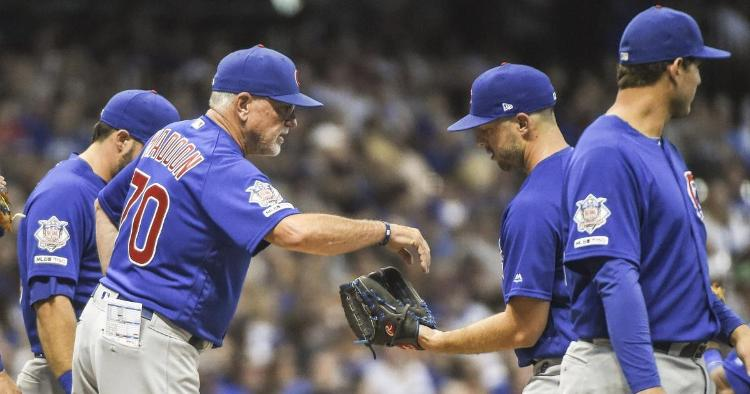 The Chicago Cubs' bullpen endured a rough night against the Milwaukee Brewers at Miller Park. (Credit: Benny Sieu-USA TODAY Sports)