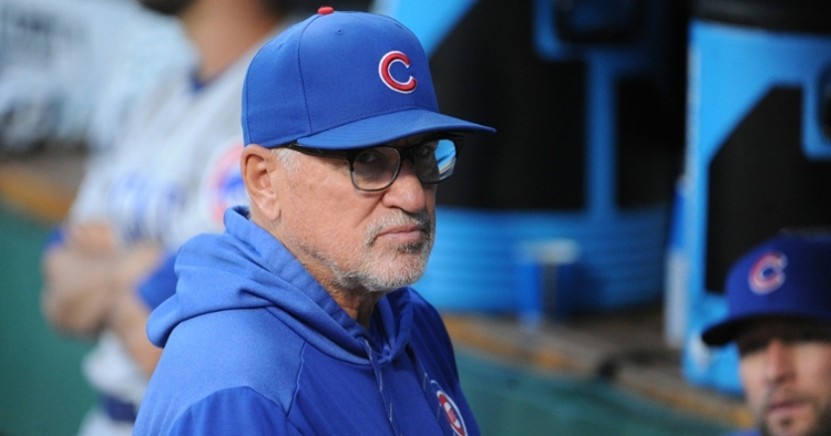 Chicago Cubs manager Joe Maddon and the Cubs' beat reporters shared a laugh over a tongue-in-cheek threat made by Maddon. (Credit: Philip G. Pavely-USA TODAY Sports)