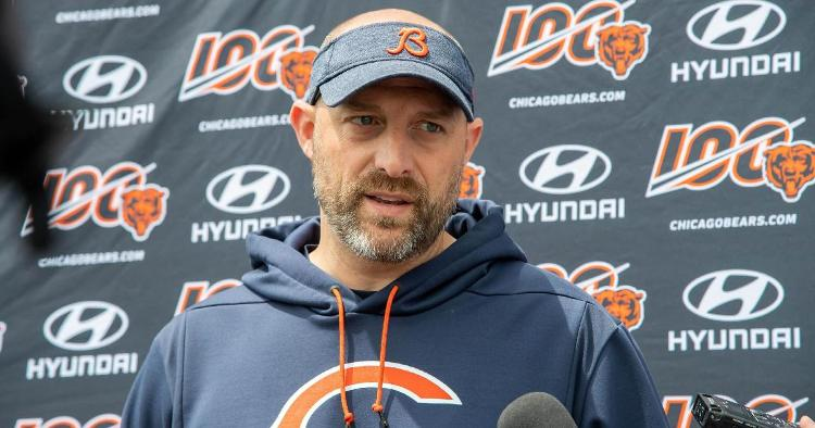 """Head Coach Matt Nagy of the Chicago Bears slurred his words while singing """"Take Me Out to the Ball Game"""" and a made a comical mistake. (Credit: Patrick Gorski-USA TODAY Sports)"""