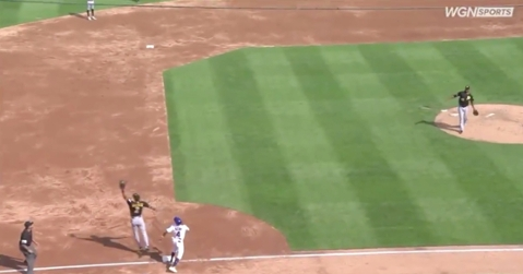 Pittsburgh Pirates reliever Michael Feliz airmailed a simple throw to third base on a botched appeal play.