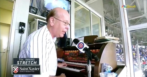 Longtime Chicago Cubs organist Gary Pressy sang out the seventh-inning stretch at Wrigley Field on Sunday.