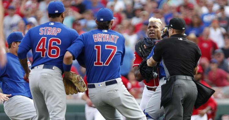 Tensions were high late in Saturday's contest between the Chicago Cubs and the Cincinnati Reds. (Credit: David Kohl-USA TODAY Sports)