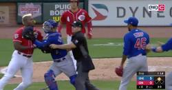 WATCH: Benches clear as Yasiel Puig, Pedro Strop nearly come to blows over hit by pitch