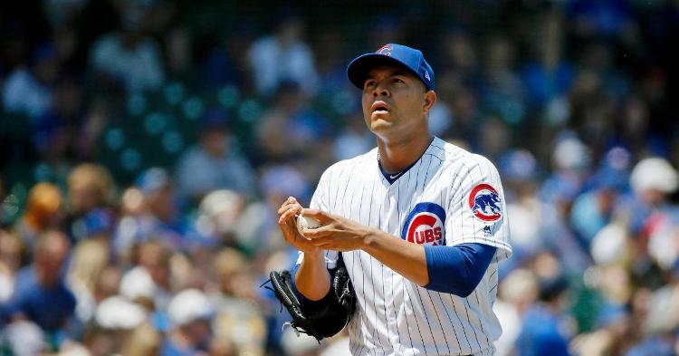 Chicago Cubs starting pitcher Jose Quintana experienced a forgettable afternoon on the mound. (Credit: Jon Durr-USA TODAY Sports)