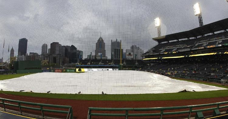 A rain delay at PNC Park commenced midway through the eighth inning on Tuesday. (Credit: Charles LeClaire-USA TODAY Sports)