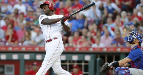 Aristides Aquino established himself as a Cub killer by smacking three home runs in the Reds' blowout victory. (Credit: David Kohl-USA TODAY Sports)