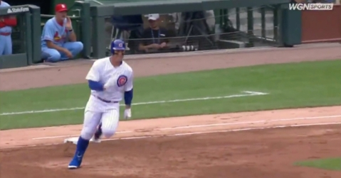 Chicago Cubs first baseman Anthony Rizzo fought through ankle pain and legged out a double.