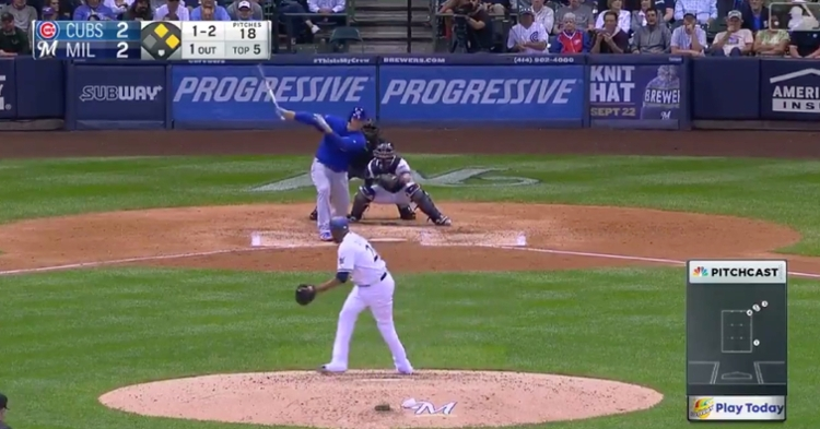 Chicago Cubs first baseman Anthony Rizzo plated two runs with a double that skirted past first base.