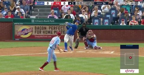 Anthony Rizzo tallied his 22nd home run of the year with a moonshot hit out to right-center at Citizens Bank Park.