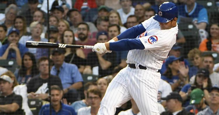 Chicago Cubs first baseman Anthony Rizzo smacked two home runs as part of his 3-for-3 performance on Tuesday night. (Credit: David Banks-USA TODAY Sports)