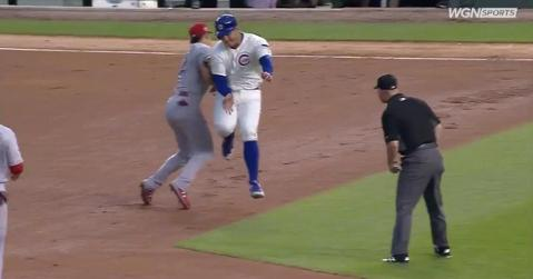 Cubs first baseman Anthony Rizzo paid the price for Reds second baseman Derek Dietrich's questionable gamesmanship.
