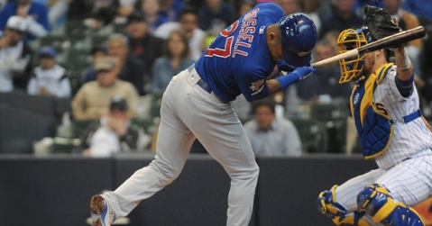 Addison Russell suffered concussion-like symptoms and a nasal contusion due to being hit in the head by a pitch. (Credit: Michael McLoone-USA TODAY Sports)