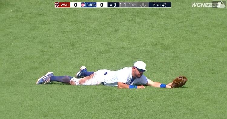 Chicago Cubs left fielder Kyle Schwarber went all out for a spectacular diving catch on Sunday.