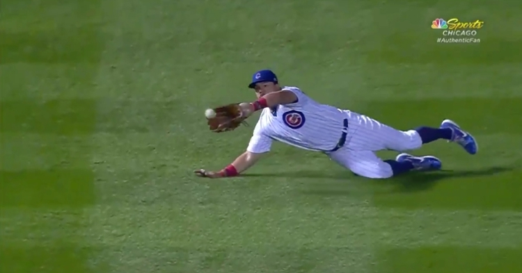 Chicago Cubs left fielder Kyle Schwarber laid out for a fantastic catch with a runner in scoring position.