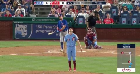 Kyle Schwarber recorded the 100th home run of his career with a 417-foot blast skied out to straightaway center field.