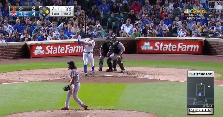 """Crushing a 2-run """"Schwarbomb"""" to the opposite field, Kyle Schwarber collected his 29th dinger of the year."""