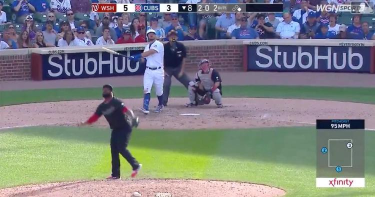 Chicago Cubs left fielder Kyle Schwarber incited a roar from the Wrigley Field faithful by smacking a game-tying bomb.