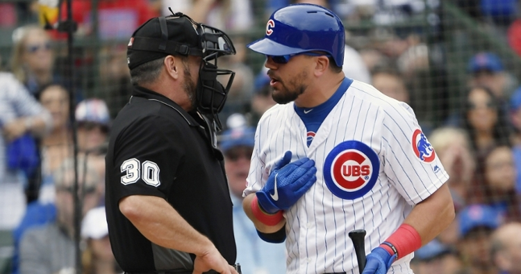 A questionable strike-three call that came at Kyle Schwarber's expense potentially spoiled a big inning for the Cubs. (Credit: Quinn Harris-USA TODAY Sports)