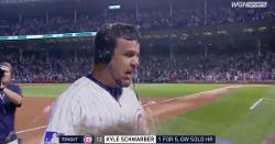 WATCH: Kyle Schwarber gets doused with Gatorade, various other substances after walkoff