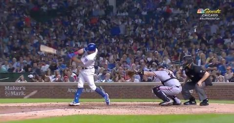 Kyle Schwarber hustled down the first baseline and beat out a throw, thus allowing Anthony Rizzo's run to count.