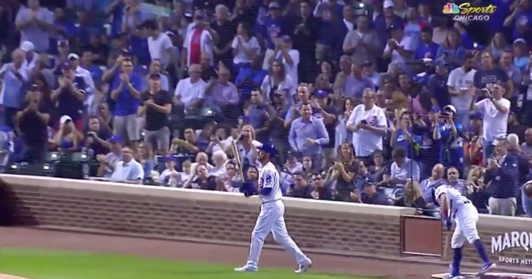 Prior to his first at-bat with the Chicago Cubs since May 6, Ben Zobrist received a standing ovation from the fans at Wrigley Field.