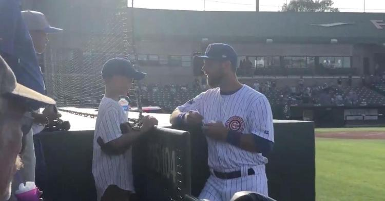 Zobrist with a young fan at South Bend