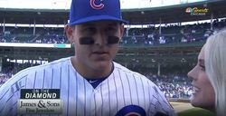 WATCH: Rizzo discusses 'lucky' home run in postgame interview