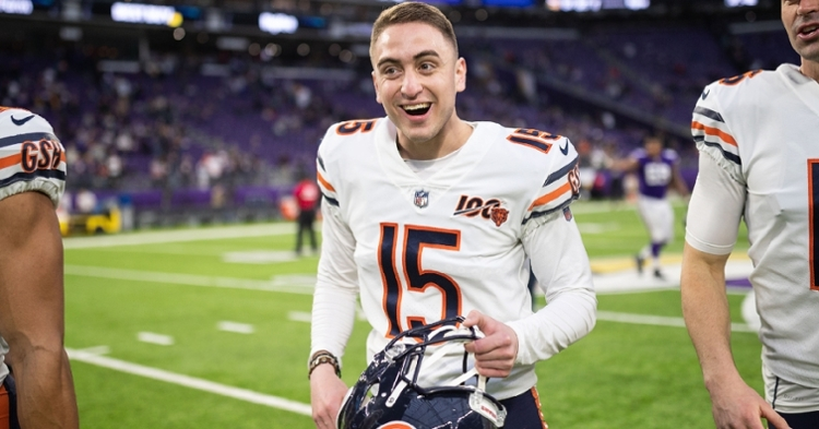 Chicago Bears kicker Eddy Pineiro went 4-for-4 on field-goal attempts, including the game-winning kick. (Credit: Harrison Barden-USA TODAY Sports)