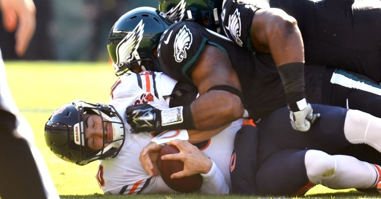 Chicago Bears quarterback Mitchell Trubisky was rather underwhelming in the Bears' loss to the Philadelphia Eagles. (Credit: Eric Hartline-USA TODAY Sports)