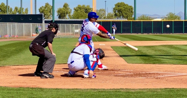 Baez going against live pitching during Spring Training