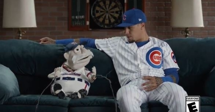Baez talking to a puppet about MLB The Show 20