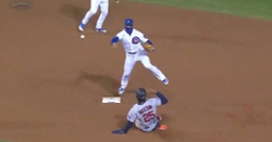 WATCH: Javier Baez makes midair throw as part of ninth-inning double play