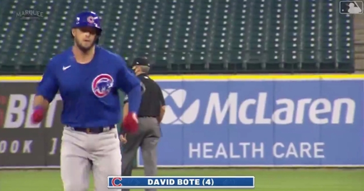 David Bote walloped a mammoth 455-foot home run at Comerica Park on Monday night.