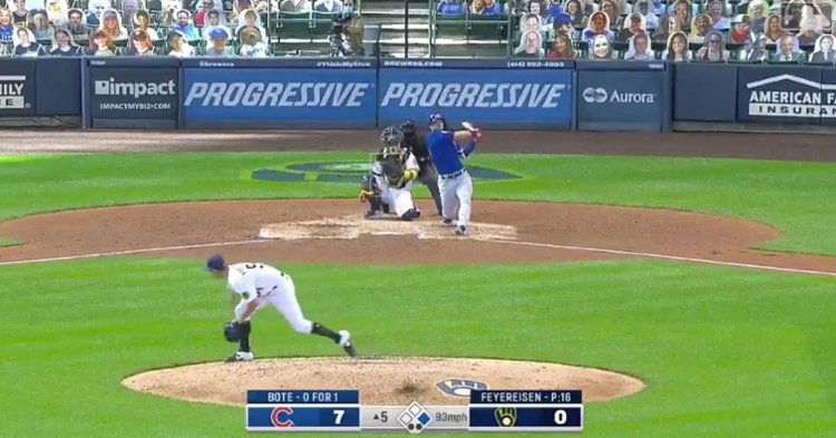 David Bote blasted a two-run shot over the left field fence on Sunday.