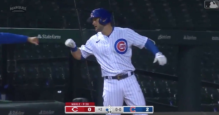 Chicago Cubs infielder David Bote motored to third base for his first triple of the year.