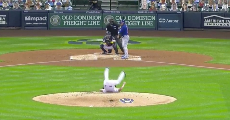 There was audible laughter from both dugouts after Brewers pitcher Brent Suter slipped and fell on the mound.