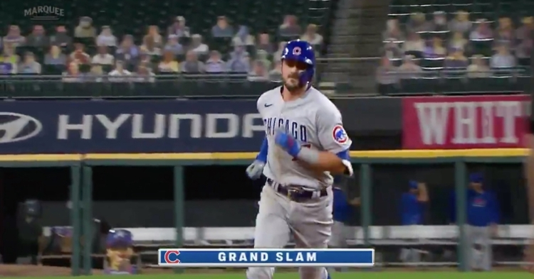 Channeling Anthony Rizzo, Kris Bryant donned gold chains on Saturday and hit an impressive grand slam.
