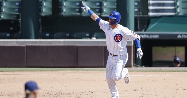 Contreras pointing after a homer on Sunday (Kamil Krzaczynski - USA Today Sports)