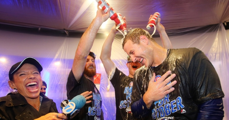 The age-old MLB tradition of teammates soaking other teammates with booze will likely go on hiatus this postseason. (Credit: Jerry Lai-USA TODAY Sports)