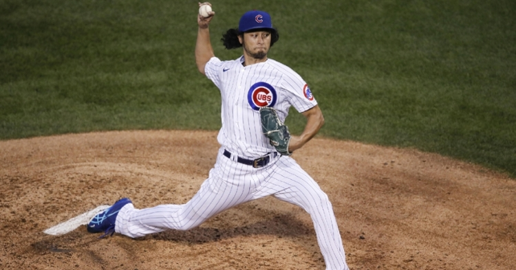 Cubs ace Yu Darvish suffered a blow to his Cy Young candidacy with a lackluster start. (Credit: Kamil Krzaczynski-USA TODAY Sports)