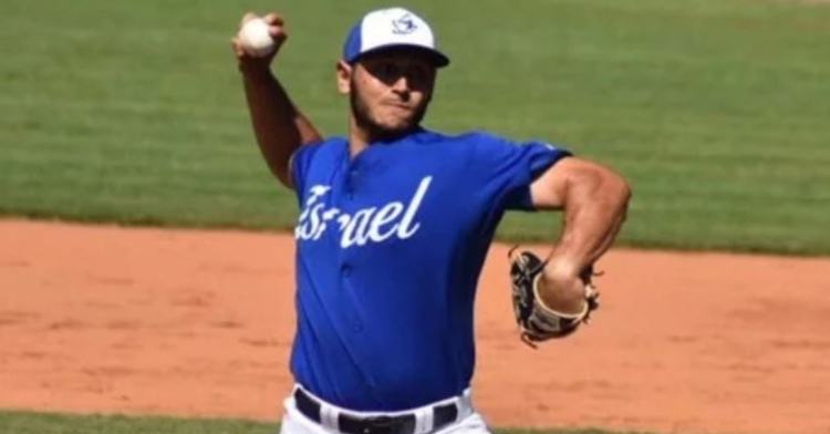 Jon De Marte pitching for Israel (Credit: De Marte's Twitter)