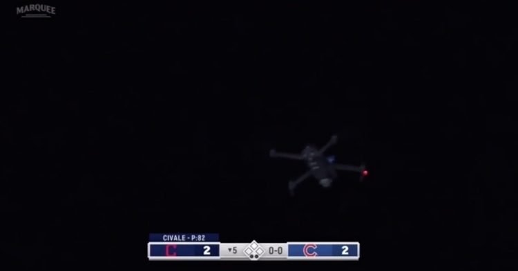 A pesky drone caused a seven-minute delay in the Cubs-Indians game at Wrigley Field on Wednesday night.
