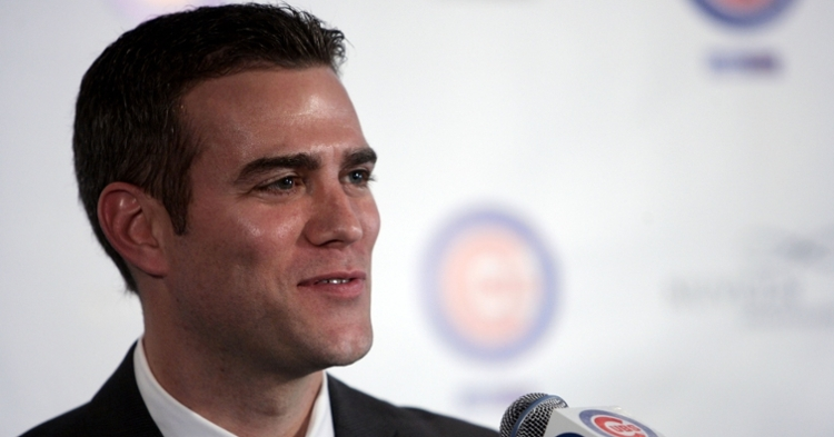 Theo Epstein at a Cubs press conference in 2011 (Jerry Lai - USA Today Sports)