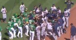 WATCH: A's player charges Astros' dugout after getting hit by pitch