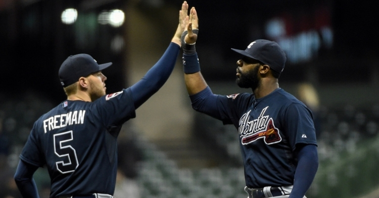 Freddie Freeman (left) and Jason Heyward (right) came into the league together with the Atlanta Braves in 2010. (Credit: Benny Sieu-USA TODAY Sports)